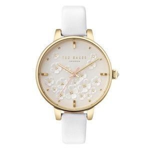 Ted Baker London Kate White Leather Strap Watch